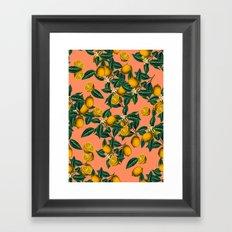 Lemon and Leaf Framed Art Print