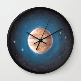 Solar System: Jupiter the Gas Giant & some of the Moons Wall Clock
