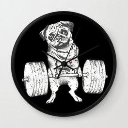 Pug Lift in Black Wall Clock