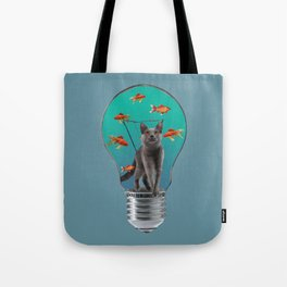 Bulb with grey cat and goldfishes Tote Bag