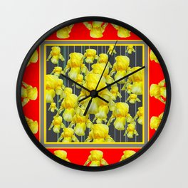 CLASSY RED-GREY YELLOW IRIS ABUNDANCE Wall Clock