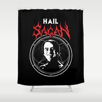 carl sagan Shower Curtains featuring HAIL SAGAN by Normal-Sized Deet