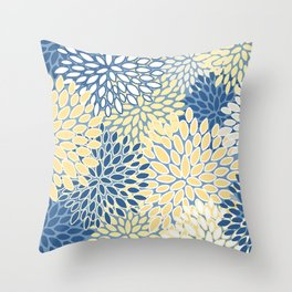 Modern, Flowers Print, Yellow, Blue and White Throw Pillow