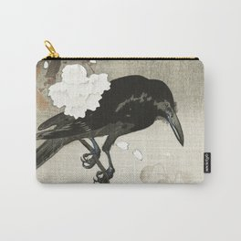 Raven on Cherry tree - Japanese vintage woodblock print Carry-All Pouch