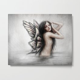 Bathing Pixie Metal Print