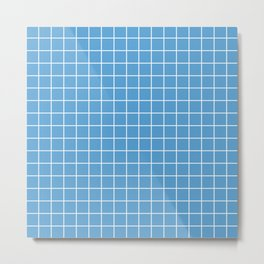Carolina blue - turquoise color - White Lines Grid Pattern Metal Print
