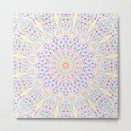 Colorful Tribal Triangle Mandala Metal Print