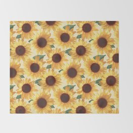 Happy Yellow Sunflowers Throw Blanket