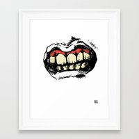 rooster teeth Framed Art Prints featuring TEETH! by Helena Bowie Banshees