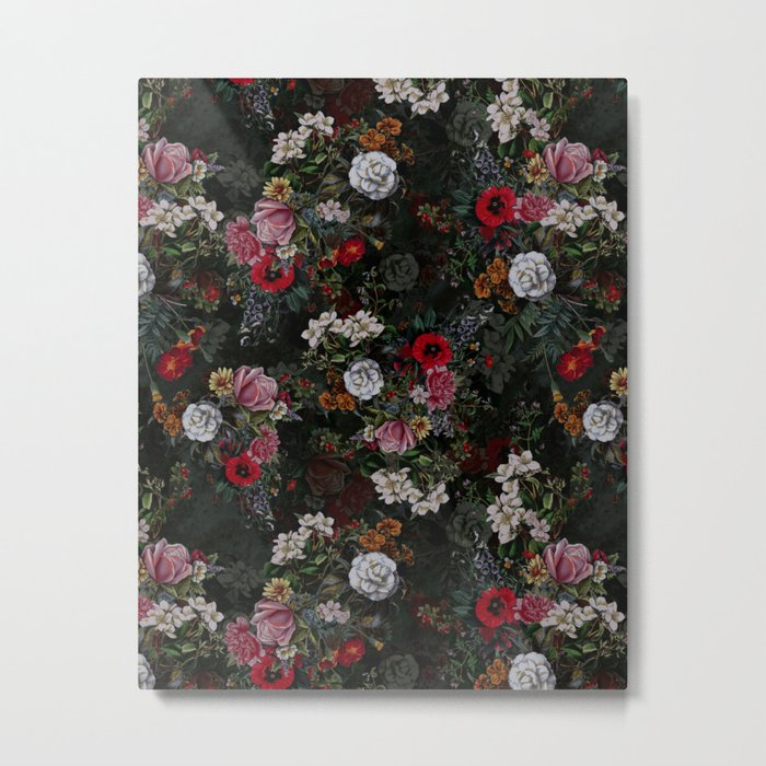 Botanical Flowers IV Dark Metal Print
