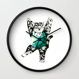 Exercise kitty cat Wall Clock