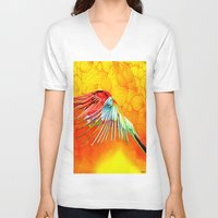parrot V-neck T-shirts featuring Parrot by Joe Ganech