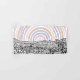 Happy Rainbow Rays // Scenic Desert Cactus Hill Landscape Watercolor Collage Dorm Room Decor Hand & Bath Towel