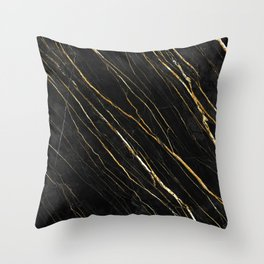 Cracked Gold Marble Throw Pillow