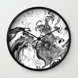 Suminagashi 1 black and white marble spilled ink ocean swirl watercolor painting Wall Clock