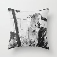 goat Throw Pillows featuring Goat by Leah Flores