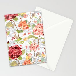 Pattern flowers with orange duck Stationery Cards