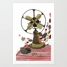 Still life with vintage fan and autumn leaves Art Print