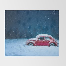 Winter Storm Red Car Throw Blanket