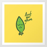 introvert Art Prints featuring The introvert leaf by Picomodi