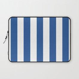 Cyan cobalt blue -  solid color - white vertical lines pattern Laptop Sleeve