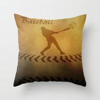 baseball Throw Pillows featuring Baseball by gypsykissphotography