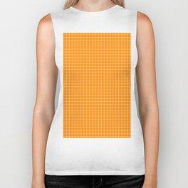 Orange Grid White Line Biker Tank