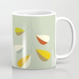 Mid Century Modern Single Leaf Pattern 1. Vintage green Coffee Mug
