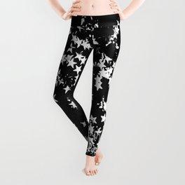 Black Night Glitter Stars #1 #shiny #decor #art #society6 Leggings