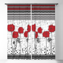 Applique. Poppies on a bright white background . Blackout Curtain