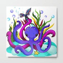 Octopus illustration Metal Print