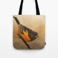 baltimore Tote Bags featuring Baltimore Oriole by Photography and Fine Art by Pamela