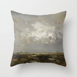 Bordeaux Sailboats in the Bay of Biscay, France, Garonne Estuary by Théodore Rousseau Throw Pillow