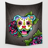 pit bull Wall Tapestries featuring Smiling Pit Bull in White - Day of the Dead Happy Pitbull - Sugar Skull Dog by Pretty In Ink