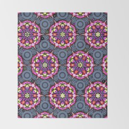 Floral Patterns and Gray Circles Throw Blanket