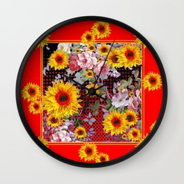 Chinese Red-Yellow Sunflowers Rose Garden Pattrn Wall Clock