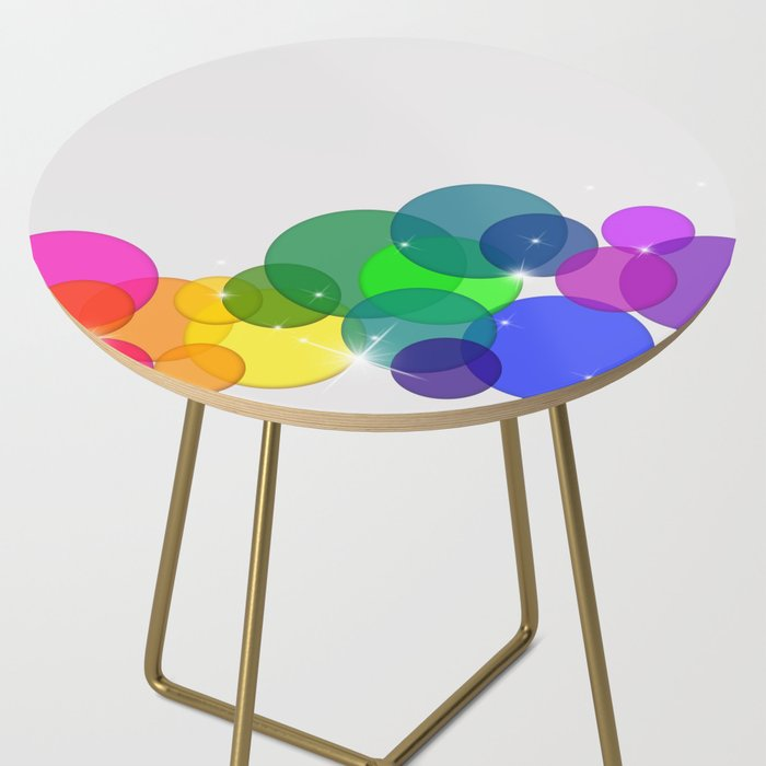 Translucent Rainbow Colored Circles with Sparkles - Multi Colored Side Table