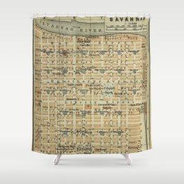 Vintage Savannah GA Map (1904) Shower Curtain
