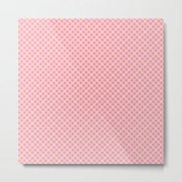 Pink & Yellow Gingham Pattern Metal Print