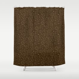 Outline of Dice in Gold + Brown Shower Curtain