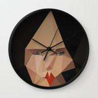 bjork Wall Clocks featuring pretty face by PandaGunda