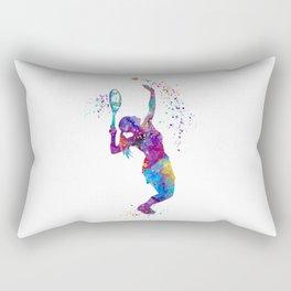 Girl Tennis Watercolor Art Print Sports Nursery Home Decor Kids Room Sports Painting Gifts Rectangular Pillow