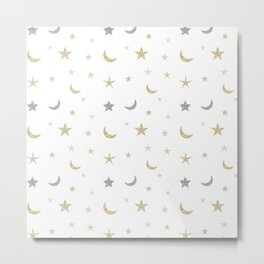 Gold and silver moon and star pattern Metal Print