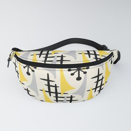 Mid Century Modern Atomic Wing Composition Yellow & Grey Fanny Pack