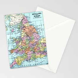 Vintage Map  of England and Wales Stationery Cards