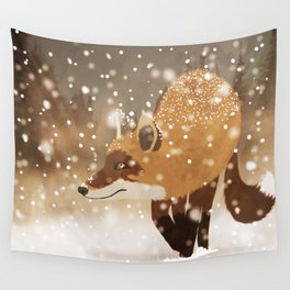 Sneaky smart fox in snowy forest winter snowflakes drawing Wall Tapestry