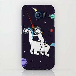 Unicorn Riding Dinocorn In Space iPhone Case