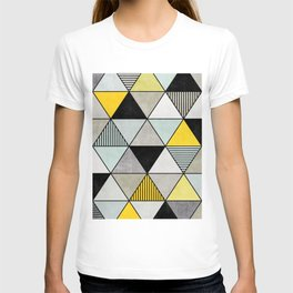 Colorful Concrete Triangles 2 - Yellow, Blue, Grey T-shirt