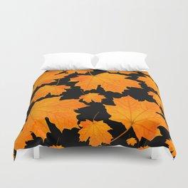 Orange Maple Leaves Black Background #decor #society6 #buyart Duvet Cover