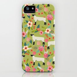Show Lamb farm floral gifts homesteader farming sheep lamb animal iPhone Case